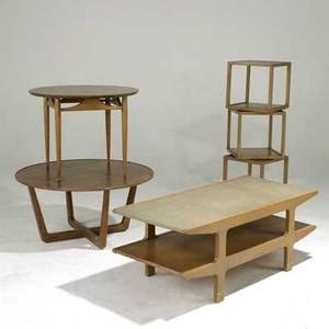 Edward wormley drexel two elm coffee tables and four elm occasional tables each stenciled coffee tables 18 x 48 x 22 and 18 x 37 dia occasional tables 15 12 sq