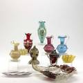 Barovier  toso seguso etc eleven glass pieces include leafshaped trays pitchers and table lighters tallest 6 34