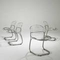 Giuseppe raimondi set of four chromed steel side chairs 32 x 20 x 24