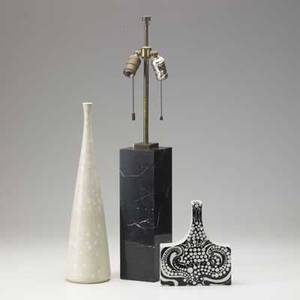 Carlharry stalhane arabia finland bottleshaped ceramic vase and arabia black and white porcelain bottleshaped vase together with black marble columnar table lamp vases marked stalhane 18 12