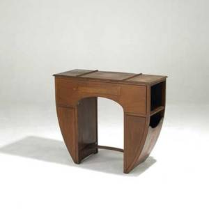 Art deco solid walnut writing desk with flip open writing surface and hinged compartments 31 12 x 36 12 x 15