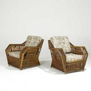 Art deco pair of reed chairs with floral upholstery 32 x 33 12 x 34