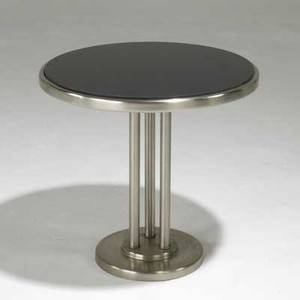 Howell art deco occasional table with stainless steel base and black glass top 19 x 20 dia