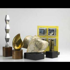 Seven contemporary sculptures brass bronze marble and mixed media forms each mounted on a display base together with a decorative painting largest 24 on a 36 wooden display pedestal
