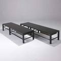Harvey probber pair of singledrawer mahogany benches with brass trim 14 12 x 66 x 18