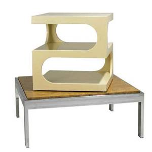 Milo baughman pierre cardin coffee table and lacquered side table table 15 12 x 38 sq