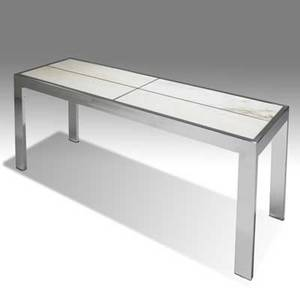 Milo baughman thayer coggin chrome console table with white marble panels 27 x 60 x 19