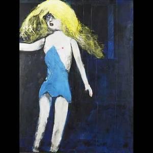 James louis steg american 19222001 acrylic on board doll in blue framed 38 x 49