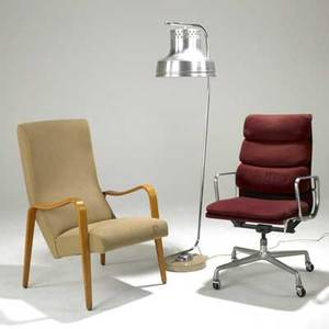 Charles eames soft pad armchair together with a thonet lounge chair and danish floor lamp eames 41 x 23 x 23