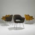 Eero saarinen knoll set of six armchairs with wool upholstery on chromed steel legs 32 x 26 22