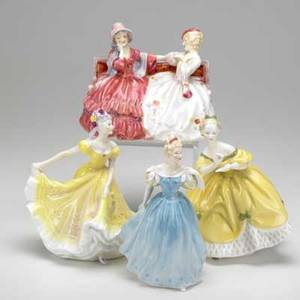 Royal doulton four girl figurines enchantment the gossips the last waltz and ninette 20th c marked tallest 8