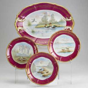 Limoges porcelain platter and twelve plates handpainted with various scenes early 20th c marked platter 18 x 13