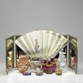 Decorative accessories eleven pieces trifold mirror three handpainted limoges boxes five scent bottles wavecrest type powder shaker and painted silk fan with pearl glassage 19th20th c mir