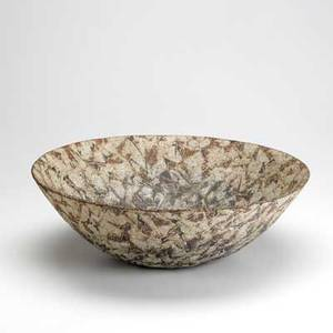 Contemporary japanese art pottery stoneware bowl with incised design in light tan glaze 20th c illegible signature 16 x 5