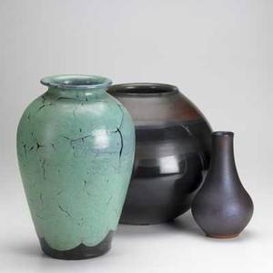 Contemporary art pottery three pieces bulbous stoneware vase tapered redware vase with metallic glaze and baluster redware vase with turquoise over black glaze 20th c tallest 14