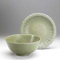 Chinese celadon porcelain bowl and dish 17th18th c bowl 12 x 5 12