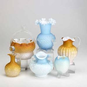 Quilted satin glass grouping three vases in blue handled basket ewer and cruet in amber 19th20th c tallest 7 14