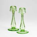 Hawkes pair of colored cut glass candlesticks mid20th c 10