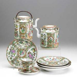 Chinese rose medallion eleven pieces 19th c two teapots two bowls three plates two sake cups and one cup and saucer largest 6 12