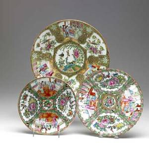Chinese rose medallion three pieces 19th c round platter deep dish and plate with scalloped edge largest 11 34