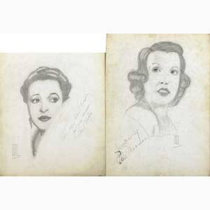 Autographed hollywood sketches approx thirty sketches primarily of actors and actresses from the 50s and 60s by g warren mcclane approx twenty autographs include helen hayes eddie abert ray