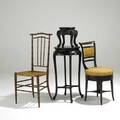 Furiture grouping victorian swivel chair with boule inlay carved bamboo and rush seat chair and two orientaldesign tables 19th20th c largest 41 x 17 x 17