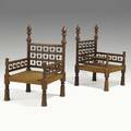 Pair of asian design chairs walnut with acorn type decoration 20th c 37 x 24 x 23
