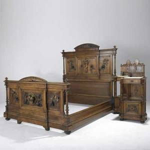 French bedroom set double bed pair of night stands dresser with mirror and armoire early 20th c armoire 92 x 78 x 24