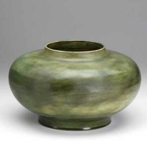 Volkmar low bowl in green glaze early 20th c signed 12 x 7 12