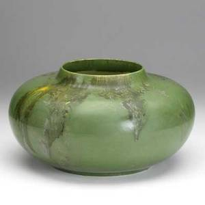 Volkmar low bowl in green crystalline glaze early 20th c signed 12 12 x 6 12