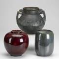 Art pottery three pieces rookwood vase in oxblood glaze 1946 fulper vase and doublehandled roseville vase tallest 8 14