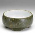 Hugh robertson dedham low footed bowl in mottled green glaze early 20th c script signature hr 9 58