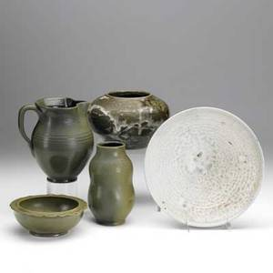Jugtown pottery five pieces include three bowls vase and pitcher 20th c each marked tallest 6 12