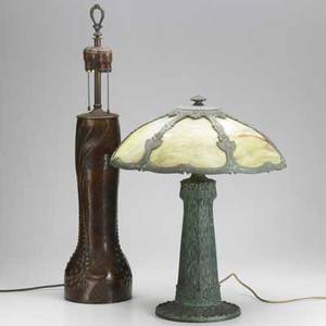 20th c table lamps arts  crafts hammered copper lamp probably german together with an american panel glass table lamp taller 28 34