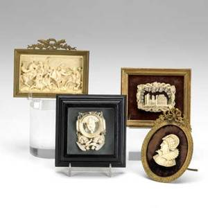 Miniature carved ivory four pieces include gothic cathedral bust of noblewoman middle eastern battle scene and religious scene 19th20th c largest 3 x 4 14