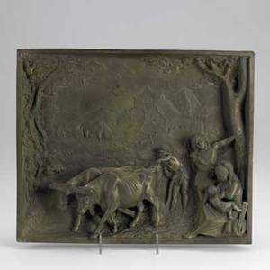 European bronze relief plaque pastoral scene with oxen and figures signed weiss 12 12 x 16 x 4