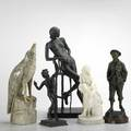 Five 20th c tabletop sculptures marble modernist bird alabaster mother and child bronze bacchus bronze boy and metal composition modernist nude illegible signatures or unmarked largest 18