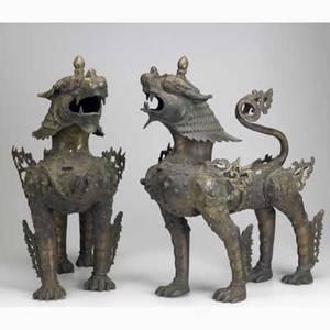 Pair of bronze foo dogs 20th c 23 x 17 x 11 12