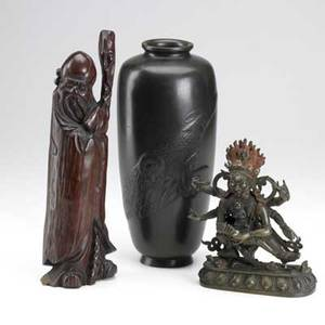 Decorative asian grouping japanese bronze vase with otters in relief multiarmed bronze buddha and wood scholar figure 19th20th c largest 11 12