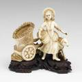 Asian carved ivory figural group with young girl with goatdrawn cart 19th20th c 5 x 5