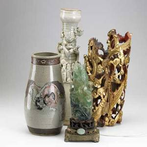 Decorative asian grouping green quartz lamp pair of cylindrical wood carvings and two glazed ceramic vases 19th20th c tallest 19