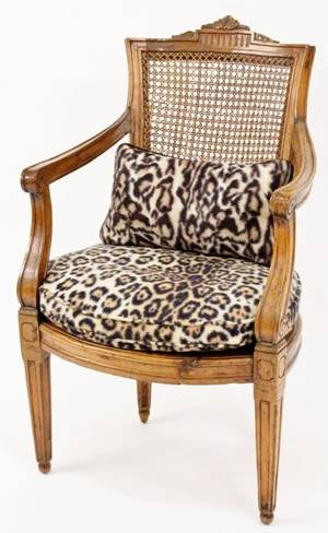 Louis XVI Style Caned Walnut Fauteuil