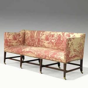 English federal sofa mahogany frame stretcher base brass casters 19th c 36 x 77 x 30