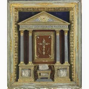 19th c french reliquary relief wood cloth and papercraft with faux gems of a temple inscribed sainte claire martyre framed under glass 40 x 33 x 7