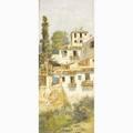 Jose maria jardines spanish 18621914 oil on canvas mounted on masonite of a mediterranean village framed signed 22 x 9 12
