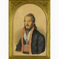 19th c austrian portrait gouache and watercolor on buff paper of a rabbi in gold leaf frame signed zenner 11 14 x 7 14 provenance collection of archduke friedrich of austria private colle