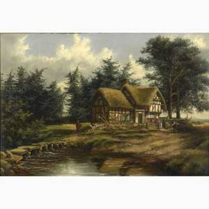 19th c english landscape oil on canvas of a thatched cottage and garden with figures framed 18 x 24