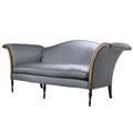 Sheraton style camelback sofa mahogany frame and silk upholstery ca 1940 84 x 42 x 30