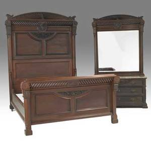 Victorian bedroom set mahogany bed and marbletop mirrored dresser late 19th c bed 90 x 84 x 66