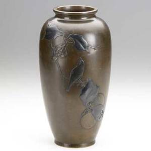 Shakado bronze vase with a song bird on a fruited branch meiji period 11 12